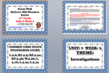 McGraw Hill Wonders Reading Focus Wall Signs: 5th Grade - Unit 2 Week 3
