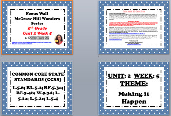 McGraw Hill Wonders Reading Focus Wall Signs: 5th Grade - Unit 2 Week 5