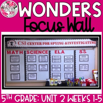 McGraw Hill Wonders Reading Focus Wall Signs: 5th Grade - Unit 2 Weeks 1-5