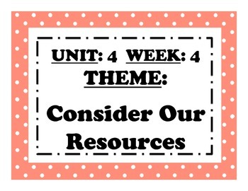 McGraw Hill Wonders Reading Focus Wall Signs: 5th Grade - Unit 4 Week 4