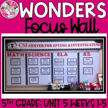 McGraw Hill Wonders Reading Focus Wall Signs: 5th Grade - Unit 5 Weeks 1-5