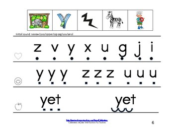 Reading Groups: Unit 8, Week 2:  Letters Y/Z