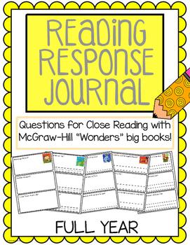 "Reading Response Journals - McGraw Hill ""Wonders"" FULL YEAR"