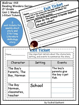 McGraw-Hill Wonders Reading Series Exit Tickets - 2nd Grade Unit 1
