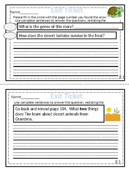 McGraw-Hill Wonders Reading Series Exit Tickets - 2nd Grade Unit 2