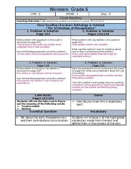 McGraw Hill Wonders Reading Sixth Grade Lesson Plan Bundle: UNIT 2