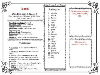 McGraw Hill Wonders Reading Weekly Lists Editable Newsletter 4th Grade Unit 1