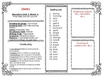 McGraw Hill Wonders Reading Weekly Lists Editable Newsletter 4th Grade Unit 2