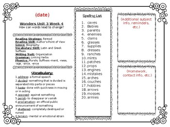 McGraw Hill Wonders Reading Weekly Lists Editable Newsletter 4th Grade Unit 3