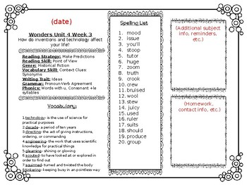 McGraw Hill Wonders Reading Weekly Lists Editable Newsletter 4th Grade Unit 4