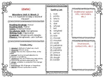 McGraw Hill Wonders Reading Weekly Lists Editable Newsletter 4th Grade Unit 6