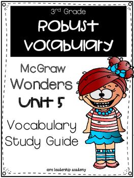 McGraw Hill Wonders Robust Vocabulary 3rd Grade Unit 5