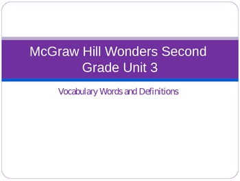McGraw Hill Wonders Second Grade Unit 3 Vocabulary