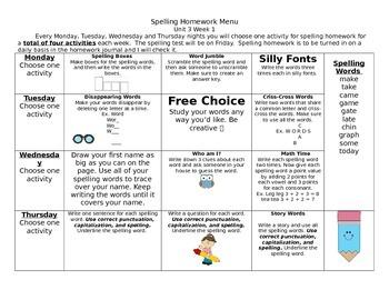McGraw Hill Wonders Spelling Homework Bundle Unit 3