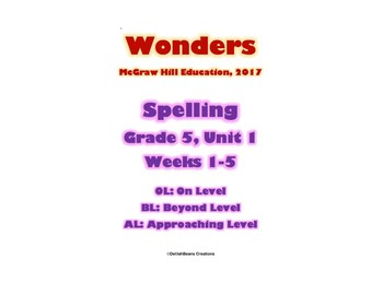McGraw Hill Wonders Spelling Practice Bundle, Fifth Grade, Units 1-6