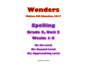 McGraw Hill Wonders Spelling Practice, Fifth Grade, Unit 2