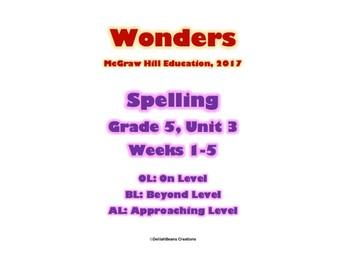 McGraw Hill Wonders Spelling Practice, Fifth Grade, Unit 3
