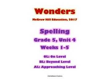 McGraw Hill Wonders Spelling Practice, Fifth Grade, Unit 4