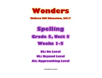 McGraw Hill Wonders Spelling Practice, Fifth Grade, Unit 5