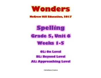 McGraw Hill Wonders Spelling Practice, Fifth Grade, Unit 6