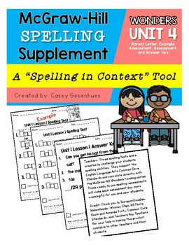McGraw Hill Wonders Spelling Supplement Unit 4