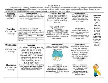 McGraw Hill Wonders Spelling homework Unit 6