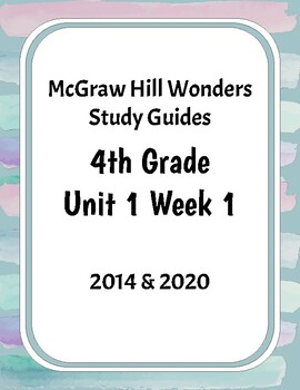McGraw-Hill Wonders Grade 4 Study Guide Unit 1 Week 1