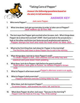 "McGraw Hill Wonders ""Taking Care Of Pepper"" Activities and Worksheets"