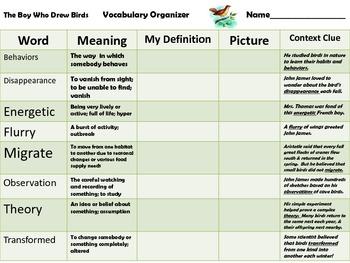 5th - The Boy Who Drew Birds - Vocabulary Organizer