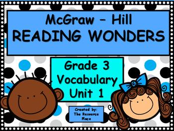 McGraw Hill Wonders Third Grade Unit 1 Vocabulary Freebie!