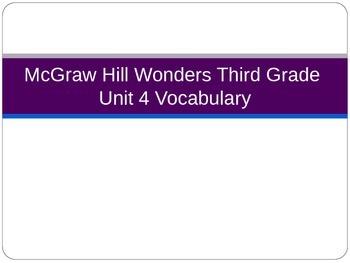 McGraw Hill Wonders Third Grade Unit 4 Vocabulary