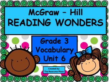 McGraw Hill Wonders Third Grade Unit 6 Vocabulary