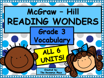 McGraw-Hill Wonders Third Grade Vocabulary - ALL 6 UNITS!
