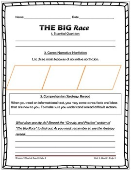 McGraw Hill Wonders UNIT 1, WEEK 4 Shared Reading The Big Race