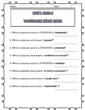 McGraw Hill Wonders UNIT 1, WEEKS 1-5, Vocabulary Study Guide