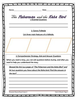 McGraw Hill Wonders UNIT 2, WEEK 1 Shared Read The Fisherman and the Kaha Bird