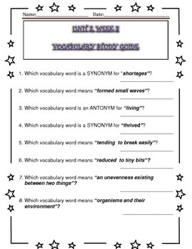 McGraw Hill Wonders UNIT 2, WEEKS 1-5, Vocabulary Study Guide