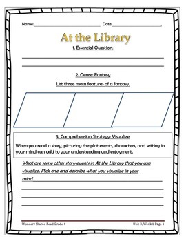 McGraw Hill Wonders UNIT 3, WEEK 1 Shared Reading At the Library