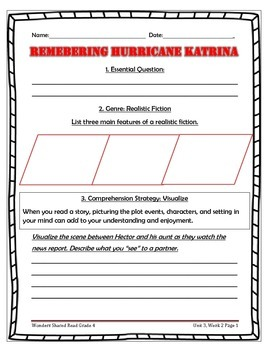 McGraw Hill Wonders UNIT 3, WEEK 2 Shared Reading Remembering Hurricane Katrina