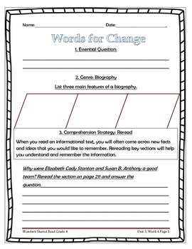 McGraw Hill Wonders UNIT 3, WEEK 4 Shared Reading Words for Change