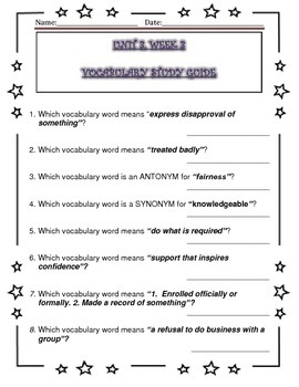 McGraw Hill Wonders UNIT 3, WEEKS 1-5, Vocabulary Study Guide
