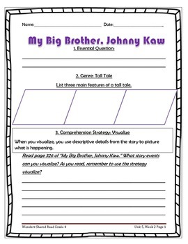McGraw Hill Wonders UNIT 5, WEEK 2 Shared Reading My Big Brother, Johnny Kaw