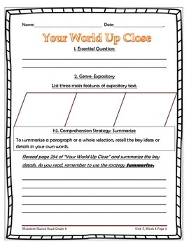McGraw Hill Wonders UNIT 5, WEEK 4 Shared Reading Your World Up Close