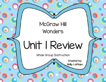 McGraw Hill Wonders Unit 1 Review First Grade