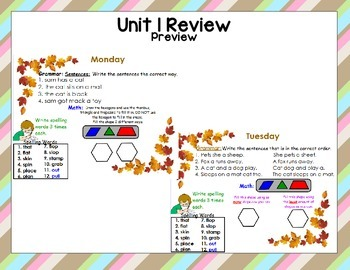 McGraw Hill Wonders Unit 1 Review Morning Work First Grade