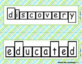 McGraw Hill Wonders Unit 1 Vocabulary Word Shape Cards Plaid Background