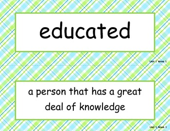 McGraw Hill Wonders Unit 1 Vocabulary Words and Definitions Cards - plaid