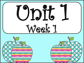 Unit 1: Week 1 (4th Grade)