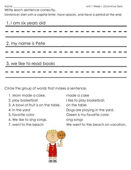 McGraw Hill Wonders Unit 1 Week 1 Grammar Practice Sentences First Grade