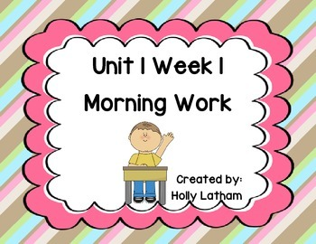 McGraw Hill Wonders Unit 1 Week 1 Morning Work First Grade